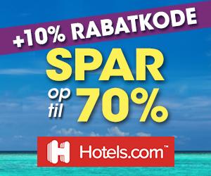 Hotels.com 10% rabatkode